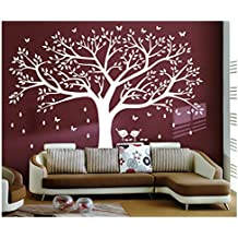 BDECOLL adhesivo de pared, árbol con pájaros vinilo Natural Tema pared arte bebé guardería adhesivo