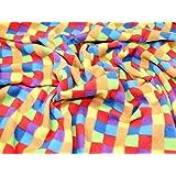 En Polaire anti-bouloches en tissu imprimé carreaux rouge multicolore–Par Mètre + sans Minerva Crafts Craft Guide