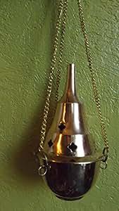 Encensoir avec chaine (à accrocher) en laiton. moyen modèle