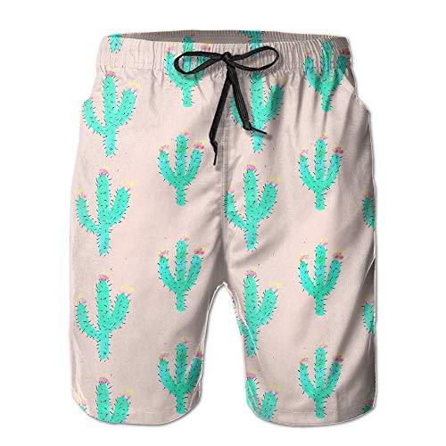 sexy world MYKJ Bright Cactus Summer Casual Quick-Dry Cargo Shorts Swim Trunks Drawstring Striped Side Pockets Small -
