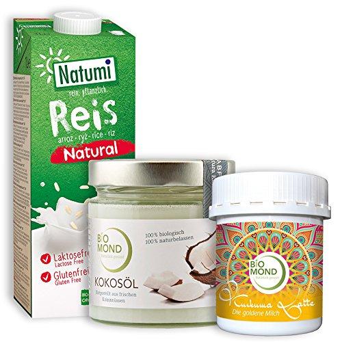 Aktions-Set *Golden Milk*: BIO Kurkuma Latte Pulver Biomond 60 g, Bio Kokosöl Biomond 330 ml, Reisdrink Natumi 1000 ml tagesfrisch vermahlen Gewürzmischung Goldene Milch