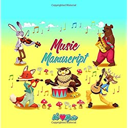 Music Manuscript Book: Perfect for Kids | Large stave manuscript paper | 40 pages - 6 staves per page