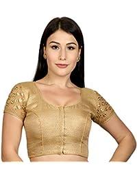 353effb3771a8 Rinkoo Womens Jacquard Silk Embroidery Designer Net Short Sleeves Padded  Princess Cut Readymade Saree Blouse (