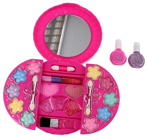 Kinder-Schminkset Schminkschatulle mit Spiegel Lidschatten Lippenstift Rouge Nagellack
