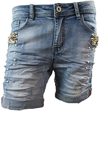 Damen Denim Krempel Boyfriend baggy Stretch Shorts Perlen Strass Mid Blue