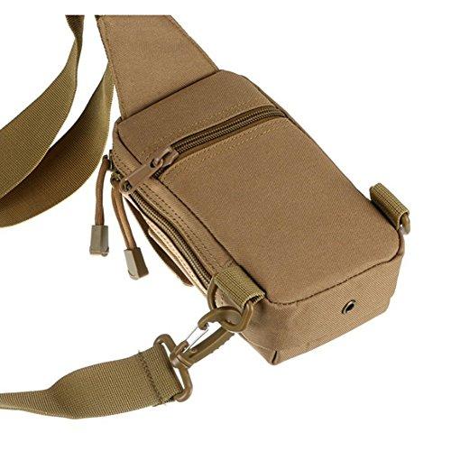 Gespout leggero tattico camouflage petto pacchetto multifunzionale nylon una cinghia Sling zaino, CP camouflage, 18X11X5CM Khaki