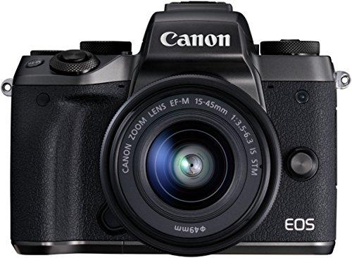 """Canon EOS M5 - Cámara sin espejo de 24,2 MP (pantalla táctil de 3,2"""", procesamiento DIGIC, 7 fps, Bluetooth, WiFi, NFC), negro - kit con cuerpo, objetivo EF-M 15-45 S y con adaptador EF-EOS M incluido"""
