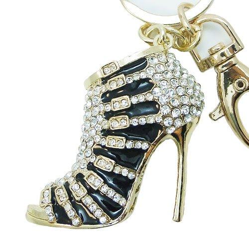 EVER FAITH® Women's Austrian Crystal Black Enamel High Heel Shoe Keychain Clear...