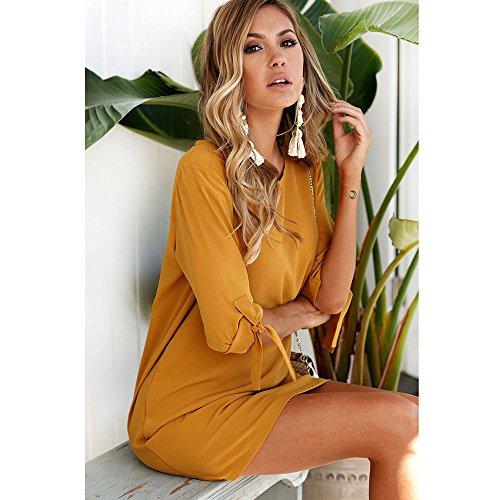 Elegante kleider Damen Kleid Cocktailkleider Ronamick Frauen Sexy solide Bowknot Ärmel Cocktail Minikleid(L, Gelb) -