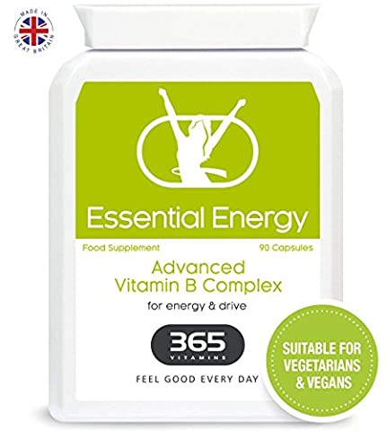 Vitamin B Complex | High Strength Formula Containing all 8 B Vitamins B1, B2, B3, B5, B6, B12, D-Biotin, Folic Acid, plus PABA & L-Glycine | Suitable for Vegetarians & Vegans |