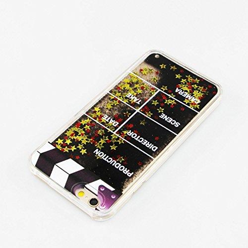 iPhone 6S Plus Hülle,iPhone 6 Plus Hülle,iPhone 6 Plus Case,EMAXELERS Bling Luxus Shiny Sparkle Kristall Rosa Herz der Liebe Design Hard Haut zurück Tasche Schutzhülle Funny 3D Fließen Flüssig Schwimm T Black Liquid 2