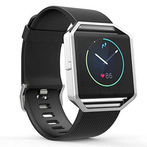 Foto de MoKo Correa para Fitbit Blaze, Soft Silicone Adjustable Replacement Sport Strap Band with Quick Release Pins para Fitbit Blaze Smart Fitness Watch, Negro
