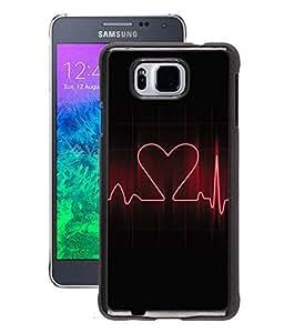 Fuson 2D Printed Heartbeat Designer Back Case Cover for Samsung Galaxy Alpha - D621
