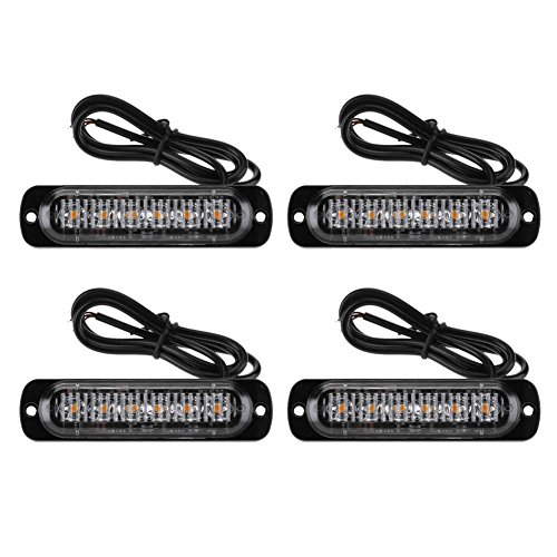 Aediea 4pcs 6LED Slim Flash Light Bars Car Vehicle Emergency Warning Strobe Lamps Strobe Light Amber Lens