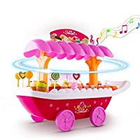 Smibie Toy Ice Cream Cart with Music and Flash Light, Kids pretent food Toy Ice Cream Candy Cart for Kids 3+