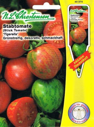 Stabtomate Tigerella grünstreifig, dekorativ, schmackhaft, gestreift
