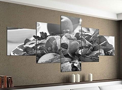 Leinwandbild 5 tlg. 200cmx100cm grüner Salat Apfel gesund Diät schwarz weiß Bilder Druck auf Leinwand Bild Kunstdruck mehrteilig Holz 9YA1864, 5Tlg 200x100cm:5Tlg 200x100cm