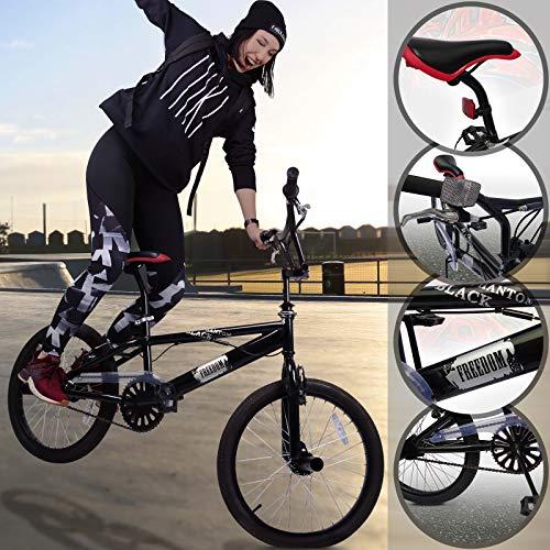 Bicicletta BMX | Black Phantom Nero, Ruote da 20 Pollici, Manubrio a 360°, 4 Pioli, Freno a V | Bici BMX, Bici da Freestyle, Bike