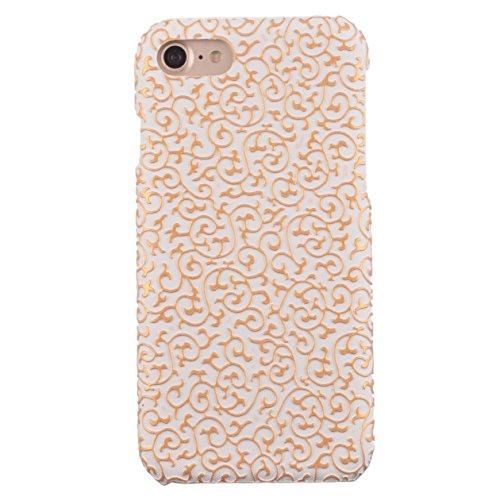 Voguecase® für Apple iPhone 7 Plus 5.5 hülle, (Gitter Muster/Braun) Hybrid Hülle Schutzhülle Case Cover + Gratis Universal Eingabestift Carving Muster/Weiß/goldene Blume