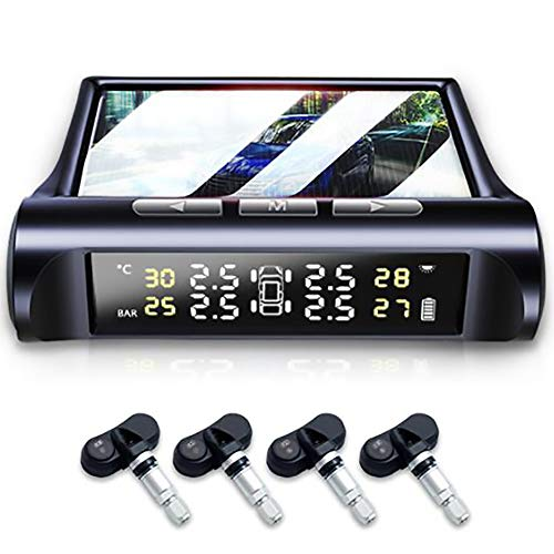 Reifendruckkontrollsystem Auto TPMS Reifendruck Kontrollsystem Solar 0-5 Bar Reifendruckmesser mit 4 Sensoren LCD Display Temperatur Anzeige für Auto, SUV, KFZ mit Deutscher Anleitung