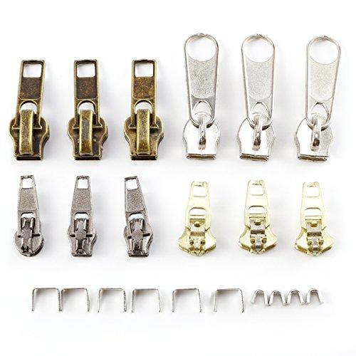 CLE DE TOUS - 12 piezas Reemplazo de Cremallera Kit de Reparación de Cremallera Cursores para Cremallera (Plateado,Cobre,Dorado,Negro)