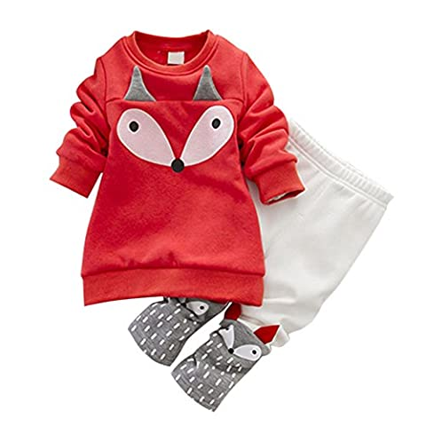 Loveble 2pcs Baby Girls Fall/Autumn/Winter Clothing Set Long Sleeve Fox Printed Fleece Top + Pants Trousers Leggings Outfit(Red+White) for 1-4 Years, Red,