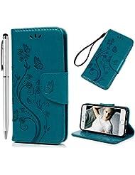 Coque iPhone 6 Plus iPhone 6S Plus Housse Etui Accessoire Portefeuille PU Carte Slots Magnétique Cuir avec Transparente Silicone TPU Case Cover Flip Coques pour iPhone 6 / 6S Plus (5.5 pouces) - Papillon et Fleur Stylé - Bleu