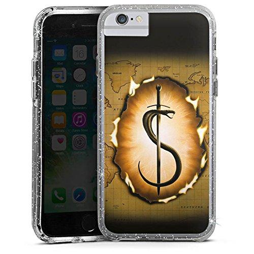 Apple iPhone 8 Bumper Hülle Bumper Case Glitzer Hülle Snake Schlange Schwert Bumper Case Glitzer silber