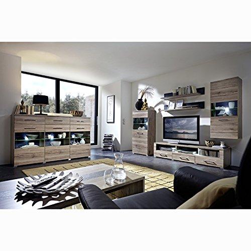 Wohnwand und Highboard Set DEALOR258 San Remo Eiche Absetzung Schiefer