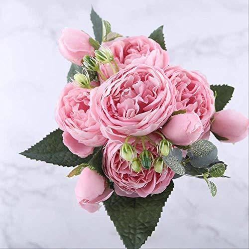 MIAO Gefälschte Blume 30cm Rose Rosa Seide Pfingstrose Künstliche Blumen Bouquet 5 Großen Kopf Und 4 Knos Billig Gefälschte Blumen Für Haus Hochzeit Dekoration Indoor rosa (Künstliche Billige Blume Bouquet)
