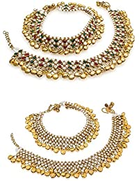 AASA Fancy Anklets Payal Set For Women Wedding Accessories For Girls Style, Combo Of 2, Golden, Pack Of 1
