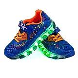 Shinmax Frühling-Sommer-Herbst-Breathable LED Schuhe 7 Farben USB Aufladbare Leuchtschuhe Kinderschuhe mit CE-Zertifikat für Halloween Weihnachten Dank Giving Day (32 EU, Dunkelblau-)