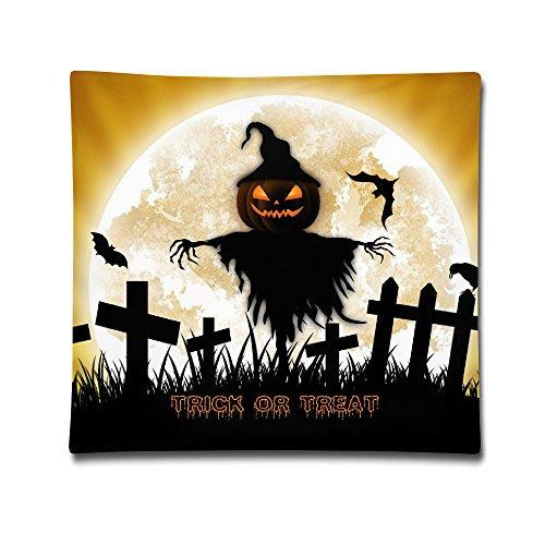 Moxicha The Bat Is Flying Around The Pumpkin Lantern Scarecrow Cotton Throw Pillow Covers 18
