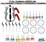 Orginal türkisches Tee Set Teeset 22 Tlg./ 6 Bunte Gläser/ 6 Rührlöffel/ 6 Untertassen / 4 Tlg. Teekocher Teekannen Set Größe Mini (1,2 & 0,6 Liter)