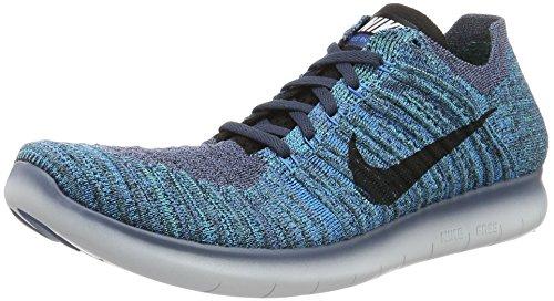 Nike Herren Free Rn Flyknit Laufschuhe Blau (ocean Fog/black-blue Glow-hyper Jade)