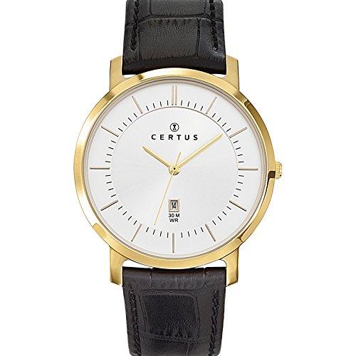 Certus 612358 - Reloj de pulsera hombre, piel, color negro