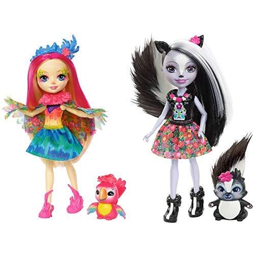 Mattel  Games FJJ21 Enchantimals Papageienmädchen Peeki Parrot Puppe & Enchantimals Mattel DYC75 - Stinktiermädchen Sage Skunk, Puppe