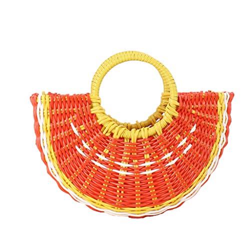 niumanery Handtasche aus Stroh, handgewebt, für den Sommer, süße Obstform, für Reisen, Orange Orange -