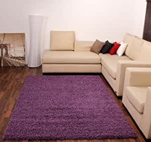 Shaggy Lila Violet Hochflor Langflor Teppich UNI Violett TOP PREIS NEU*, Grösse:80x150 cm