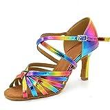 HXYOO Damen Latein Tanzschuhe Salsa Regenbogen Farbe WK035(40, 7,5 cm Fersen)