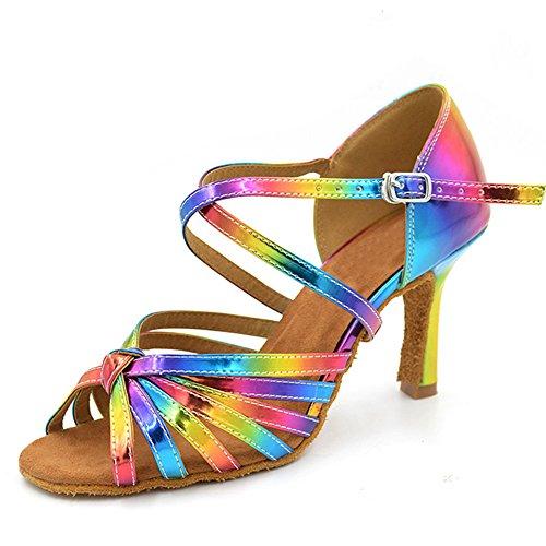 XYOO Zapatillas de Baile Interior para Mujer Zapatos Latinos de la Salsa WK035(39, Varios Colores)