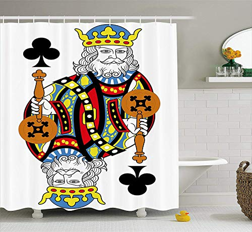 King Shower Curtain, King of Clubs Playing Gambling Poker Card Game Leisure Theme Without Frame Artwork, Fabric Bathroom Decor Set with Hooks, 72x72 inches, Blue Red