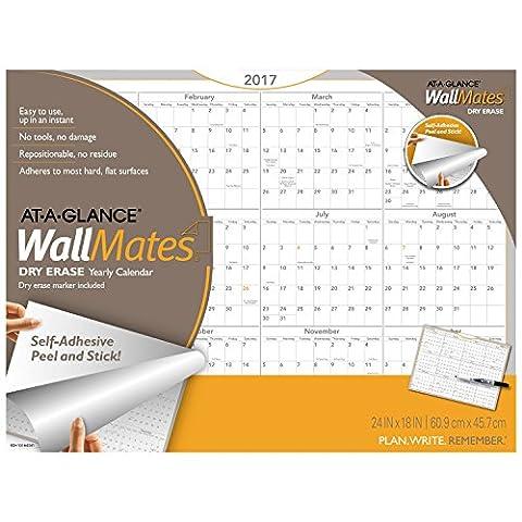 AT-A-GLANCE Dry Erase Wall Calendar 2017, Self-Adhesive, 24 x 18, WallMates (AW5060-28) by At-A-Glance