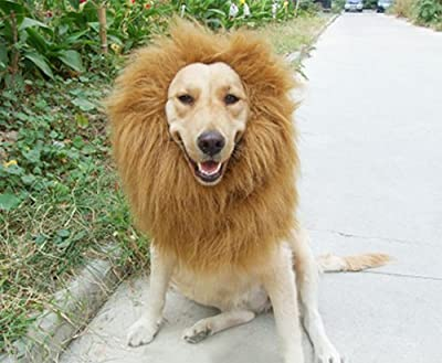 Pet Dog Costume Lion Mane Wig Christmas Halloween Clothes Festival Fancy Dress up from pupproperty dog clothing