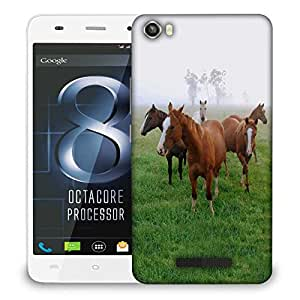 Snoogg Horses In Garden Designer Protective Phone Back Case Cover For Lava Iris X8