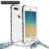 NewTsie Coque Étanche iPhone 7 Plus, Coque Antichoc iPhone 8 Plus, Imperméable IP68 Anti-Chute Anti-poussière et Anti-Neige Housse pour iPhone 7/8 Plus 5.5 inch (B-Blanc)