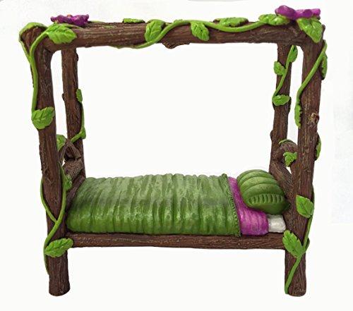 Miniatur-Fee und Baby-Gnome-Bett - ein 4-Post Miniatur-Bett für Ihre Fee und Gnome-Garten, Pixies und Sprites - Ein Feengarten Accessoire - Garten-bett