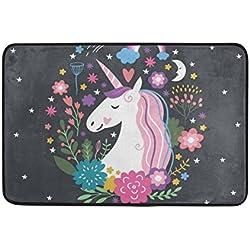 ALAZA Unicornio del arco iris floral y Felpudo 15,7 x 23,6 pulgadas, Salón Dormitorio Cocina Baño decorativo ligero de espuma Impreso Alfombra