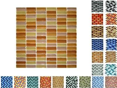 1 Netz Glasmosaik Sticksize Glanz Gelbmix von Mosaikdiscount24 auf TapetenShop