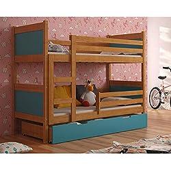 JUSThome LEON Cama juvenil infantil Litera con cajones (LxBxH): 190x85x150 cm Aliso Azul